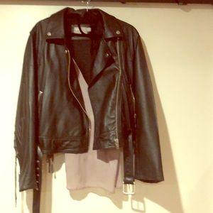 Black leather Moto jacket from ASOS